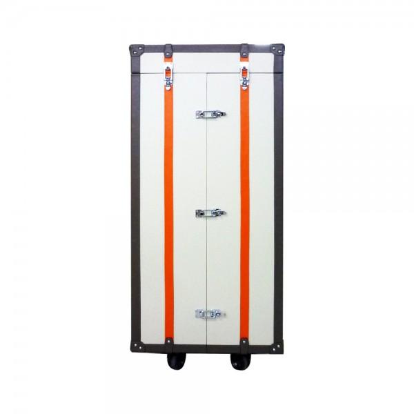S0072/2 - Leather jewelry storage cabinet White|Orange