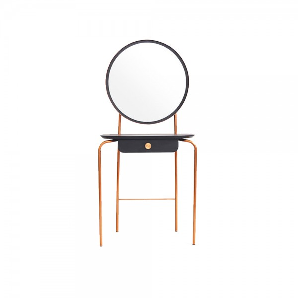 T0064 - Horus Cosmetic Table with Round Mirror x Copper