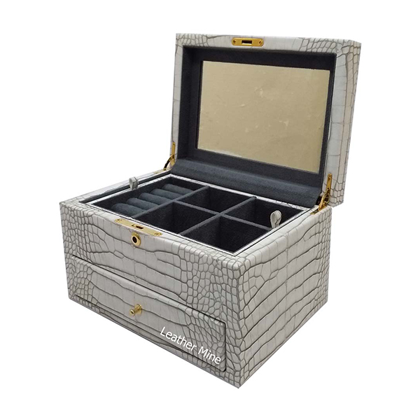 O2253/1 |Faux crocodile jewelry box with a drawer