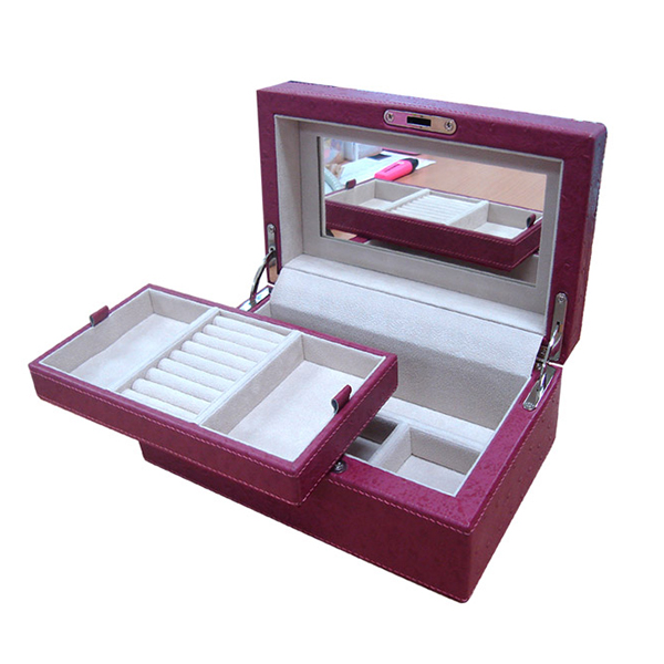 W0128 | Ostrich Jewelry box with Mirror