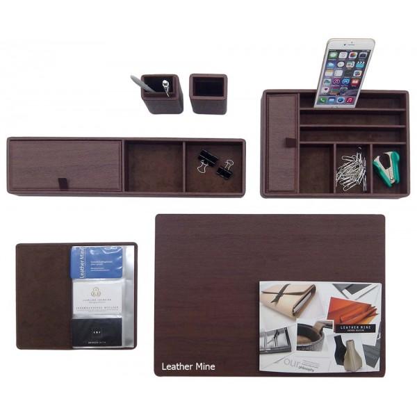 DS-ORN | Deskset via wood texture leather